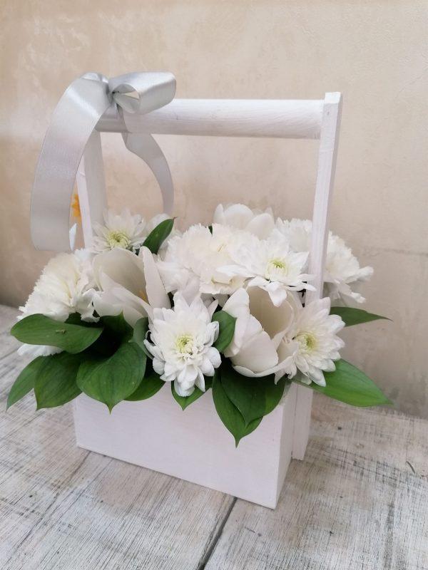 Ladita lemn 15 cm cu mix floral 1